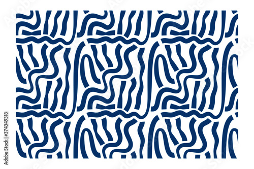Horizontal seamless pattern of vertical blue ink waves with blunt ends. Camouflage background.