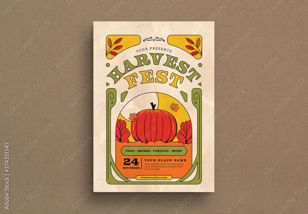 Fototapeta Harvest Fest Flyer Layout
