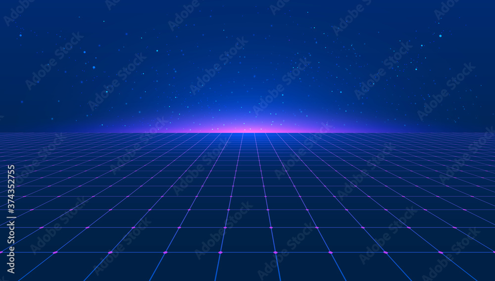 Fototapeta Abstract bright retro blue pink purple background futuristic landscape 1980s style. Vector illustration 80s party background . 80s Retro Sci-Fi background. Light perspective grid.