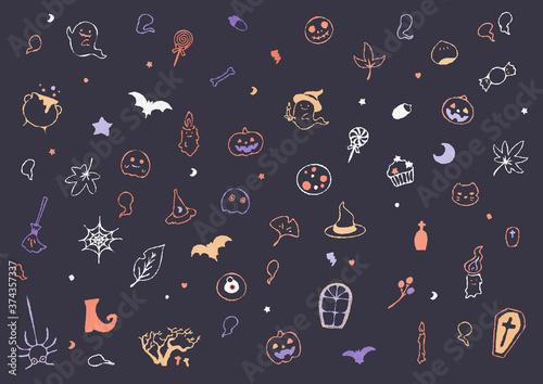 かわいいハロウィンの背景イラスト01 Poster Mural XXL