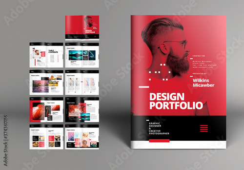 Fototapeta Red Portfolio Brochure Layout