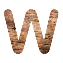 Alphabet Letter W On Rustic Wood Background