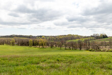 Looking Out Over The Fields, Woods, And Hills At Stroud Preserve, West Chester, Pennsylvania, USA