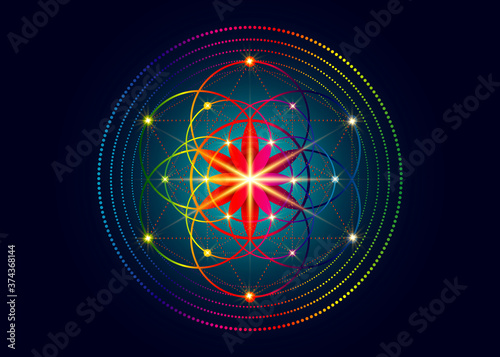 Seed of life symbol Sacred Geometry Canvas Print