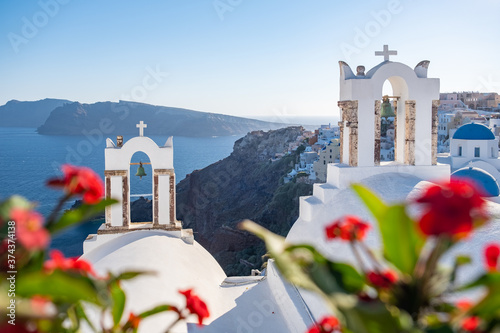 Sunset at the Island Of Santorini Greece, beautiful whitewashed village Oia with Fotobehang