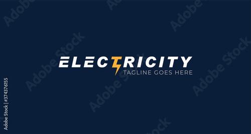 Fotografía Electricity logotype, Flat style Logo Design Template,vector illustration