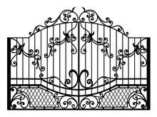 Silhouette Wrought Iron Gate Vector
