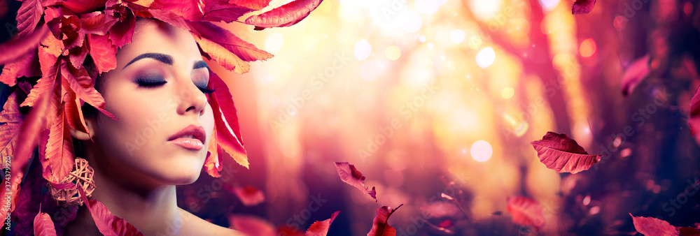 Fototapeta Autumn Woman - Beauty Fashion Model Girl With Red Leaves In Forest