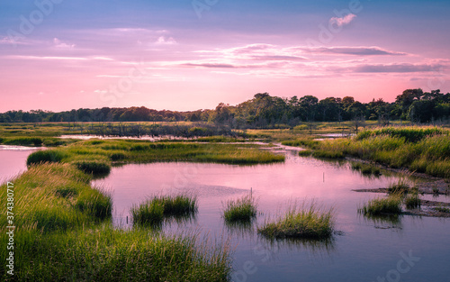 Fotografia Twilight cloudscape over the flooded marsh at high tide on Cape Cod