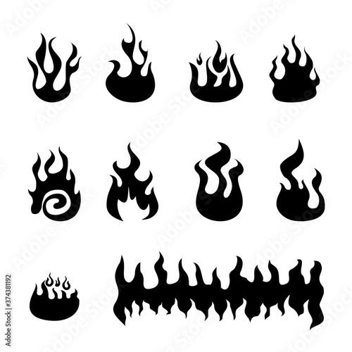 fire flames vector logo set Canvas Print