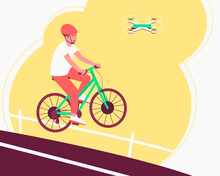 The Quadcopter Tracks The Athlete On The Bike, Follows Him During His Movement. The Photographs Capture Elements Of The Thrill Of Sports. Flat Vector Illustration.