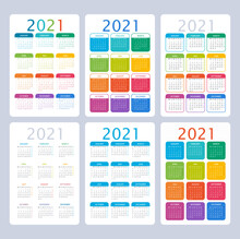 2021 Year Calendar. Colorful Vector Set