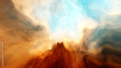 Fototapeta Nebula and galaxies, planets in space, science fiction wallpaper