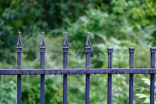 A Wet Bladk Wrought Iron Fence After A Rain