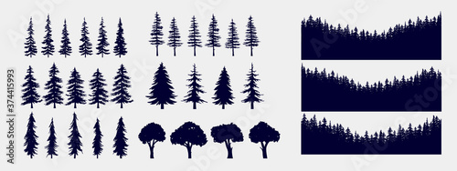 Obraz Tree and forest silhouettes - Vector illustration collection of trees and wilderness objects to create your own nature scene. - fototapety do salonu