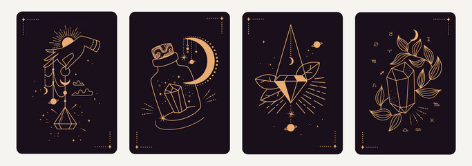 Set of mystical templates for tarot cards, banners, flyers, posters, brochures, stickers. Hand-drawn. Cards with esoteric symbols. Silhouette of hands, planets, stars, moon phases and crystals. vector