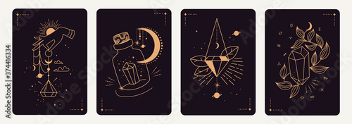 Foto Set of mystical templates for tarot cards, banners, flyers, posters, brochures, stickers