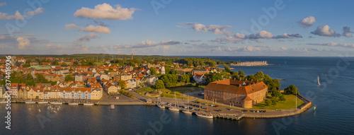 Panoramic aerial view of of the harbor and castle in Sonderborg Jutland, Denmark, Europe Wallpaper Mural