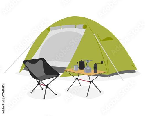 ソロキャンプの為のテントやキャンプ用品のイラスト。 Canvas
