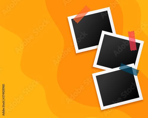 three photo frames on yellow background design Fotobehang