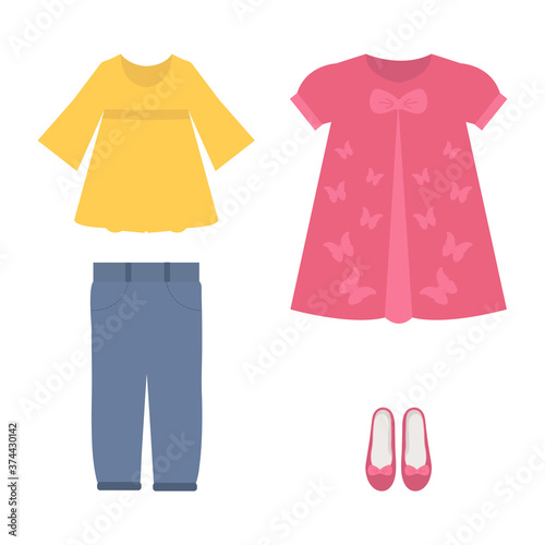 Vector illustration of a set of summer clothes for girls Fototapet