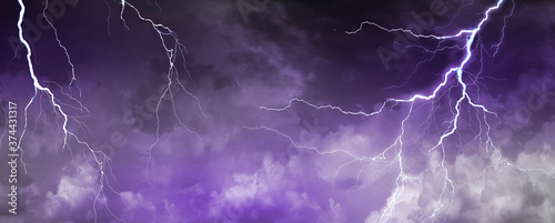 Photo Lightning, thunder cloud dark cloudy sky, Copy space for your text