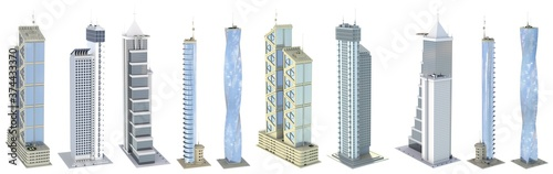 10 different angles views fine detailed renders of fictional design abstract houses with blue cloudy sky reflections - isolated, 3d illustration of skyscrapers