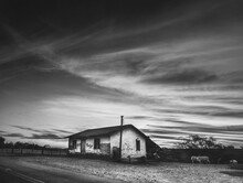 Old Abandoned House Farm In Black And White