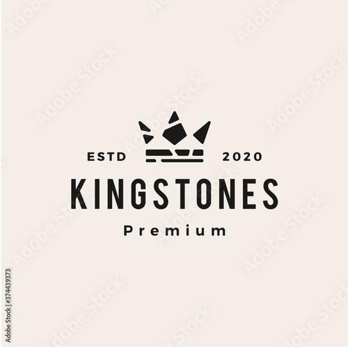 Obraz na plátne king stones hipster vintage logo vector icon illustration
