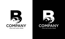 House B Letter Logo. Creative Icon Created From Negative Space Of Initial B Combined With Minimalist House Shape Design. Perfect For The Modern Real Estate Industry.