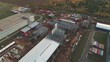 unfinished warehouse building with metal carcass aerial view