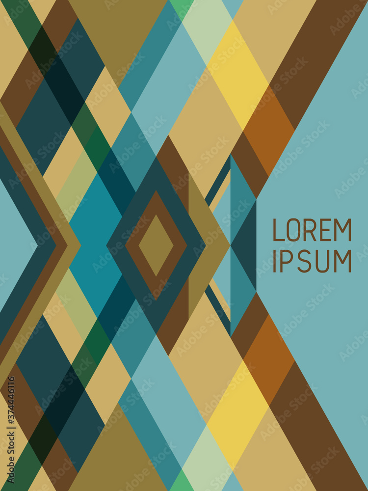 Cover page layout vector template geometric design with triangles and stripes pattern in brown, blue, green.