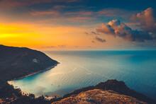 Silhouette Thailand Sunset Aerial: Ocean Gulf At Mountain Jungle, Sand Beach Coast Of Koh Tao Island, Asia. Asian Nature Seascape At Sun Set Tones At Cloudy Sky. Tropical Isle Lagoon In Romantic View