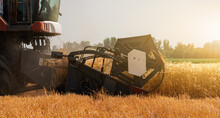 Close Up Of Combine Harvester For Harvesting Wheat