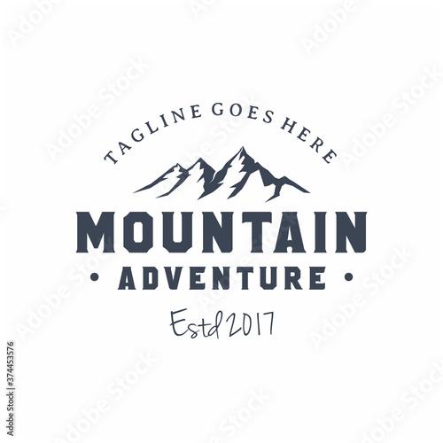 Fotografie, Obraz Mountain / adventure / travel vintage retro hipster logo design