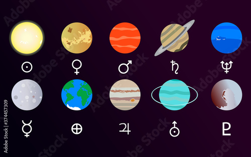 Solar system with sun and planet set Wallpaper Mural