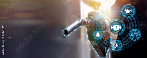 Fotografering Futuristic oil fueling concept modern icon, refilling refueling car vehicle tran