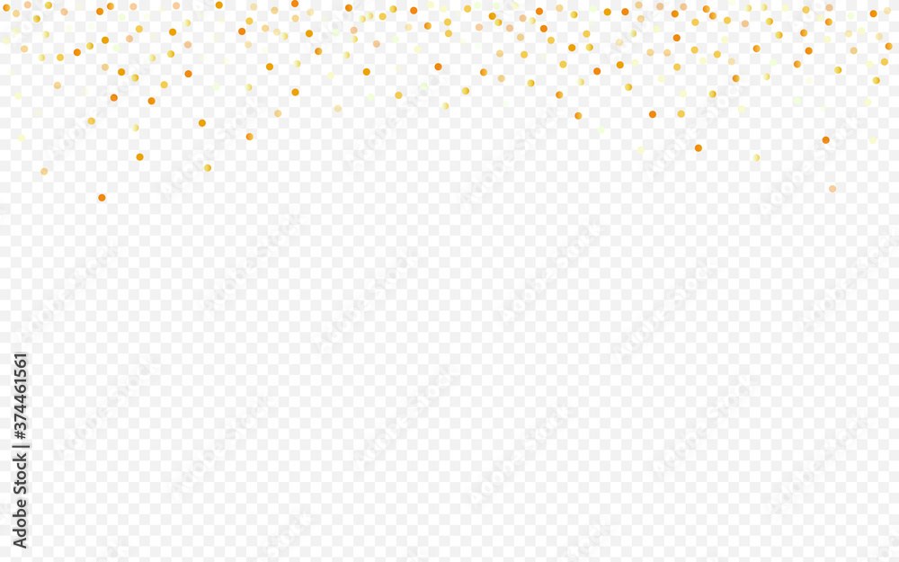 Fototapeta Yellow Sequin Falling Transparent Background.