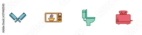 Set Crossed meat chopper, Microwave oven, Toilet bowl and Toaster with toasts icon Fotobehang