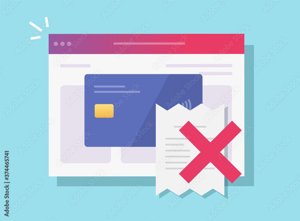 Fototapeta Payment fraud declined online vector, not valid digital internet pay of bill flat cartoon illustration, fraudulent financial activity concept