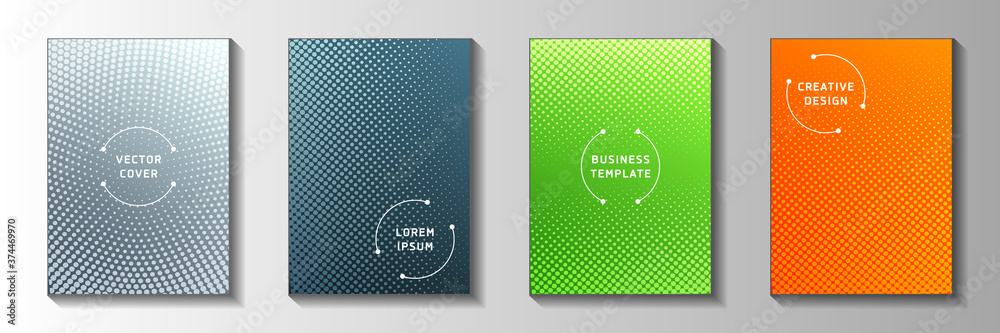 Fototapeta Minimal point perforated halftone cover templates vector set. Medical notebook faded halftone