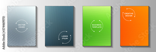 Minimal point perforated halftone cover templates vector set Fotobehang