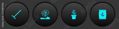 Fotografiet Set Garden rake, Planting tree in the ground, Flower pot and Fertilizer bag icon