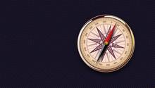 Vintage Gold Compass On Black ...