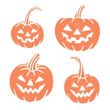 Set Of Halloween Pumpkin Stamps