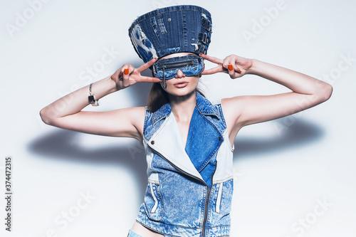 woman in blue denim hat and waistcoat Slika na platnu