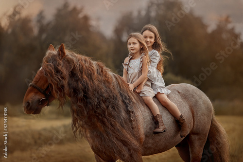 Photo Two little sisters on red tinker horse Gypsy cob in summer evening field