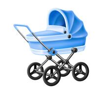 Vector 3d Baby Strolle Blue Ba...