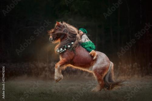 Obraz na plátně Little girl in green dresshorseback on red tinker horse in christmas wreath