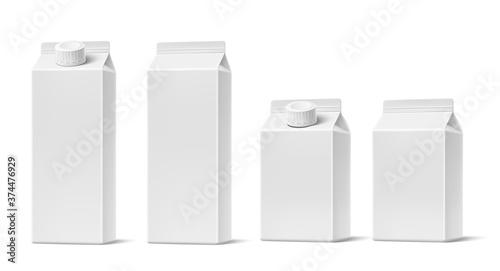 Obraz na plátne Vector juice milk cardboard package mockup set